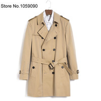 2018AW MEN Fashion Classic Design Honey Short Cotton Trench Coat Double breasted Waist Belted Long Sleeved with Pockets