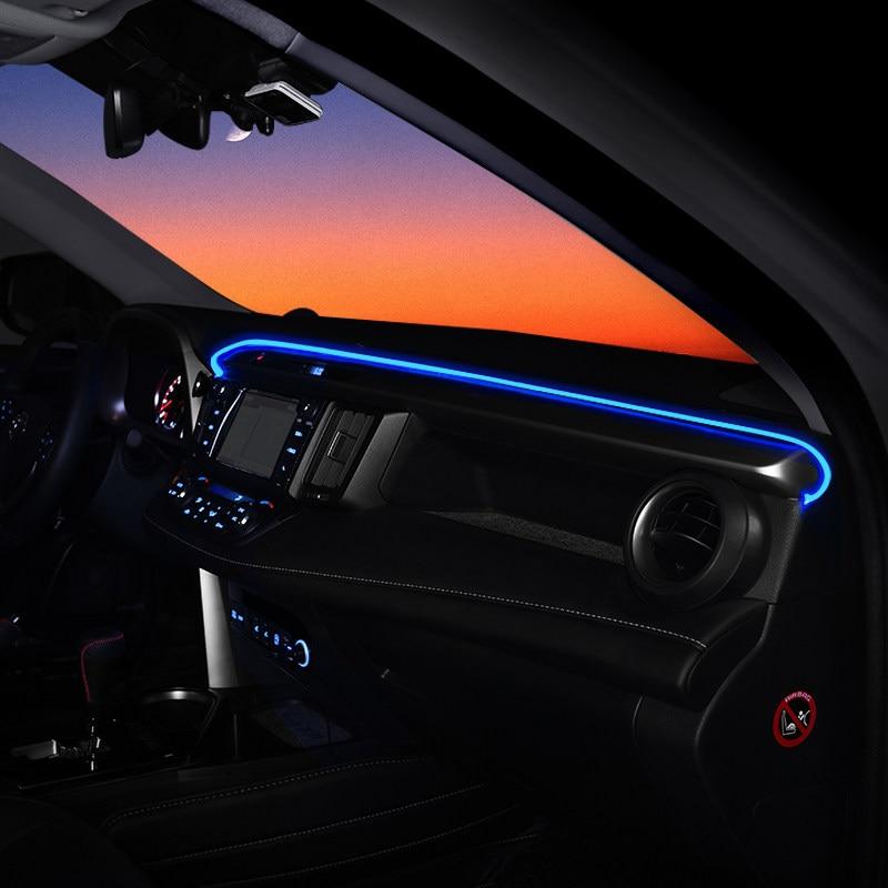 Panneau de bord garniture atmosphère lumière pour Toyota RAV4 2014 2015 2016 intérieur LED bleu tableau de bord cadre lumière pour RAV4 2017 2018