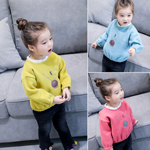 Autumn and winter new girl clothes girl sweet lace collar sweater boy pull fleece ball child print sleeve sweater
