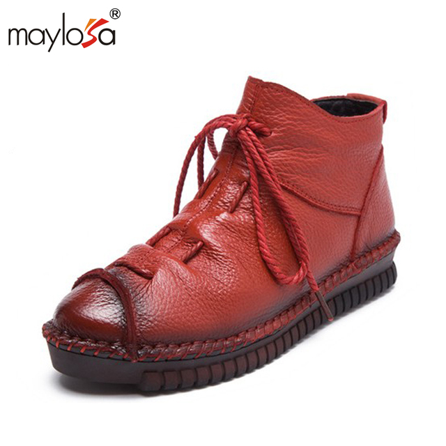 MAYLOSA 2017 New women Genuine Leather Boots Vintage Style Flat Booties  Women's Shoes  Front Zip Ankle Boots zapatos mujer