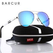 BARCUR Aluminum Magnesium Polarized Sunglasses Men Driving Mirror Sun Glasses Male Oculos