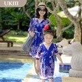 Семья посмотрите синий цветочный коротким рукавом детская одежда девушки повседневная отдыха женщин праздничное платье мать и дочь платья пляж