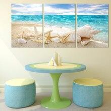Toile de peinture imprimée moderne HD | 3 panneaux, décoration murale, pour la plage, les coquillages, la maison, affiche pour le salon
