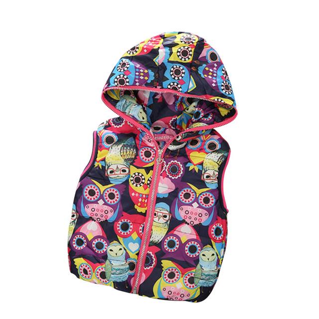 2016 Otoño de La Muchacha Chalecos Cabritos de la Chaqueta de Ropa de Moda para Personajes de Ropa Infantil Con Capucha Chalecos Casual Niñas Bebés Chaleco Abrigos