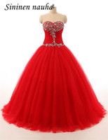 Quinceanera Prom Dresses Long Party Dress Sweetheart Beaded Tulle Ball Gown Cheap Red Vestidos De 15 Anos Sweet 16 Dresses 70