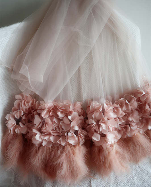 1 Yard 3D Pink Fabrics With  Pink Floral And Feathers