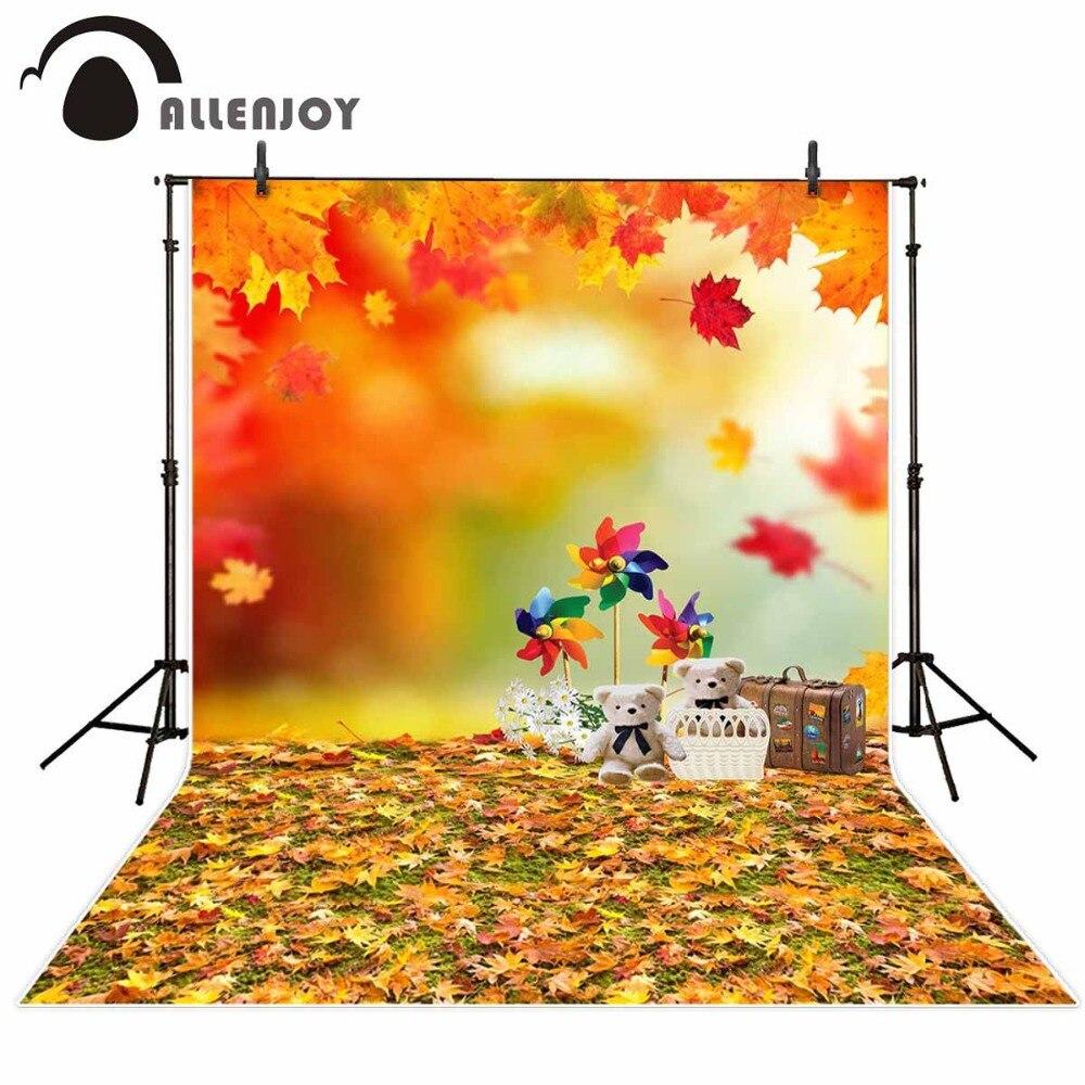 Allenjoy fond photographique Floue ours en peluche feuilles moulin à vent décors nouveau-né enfants Hors support photocall 10x20
