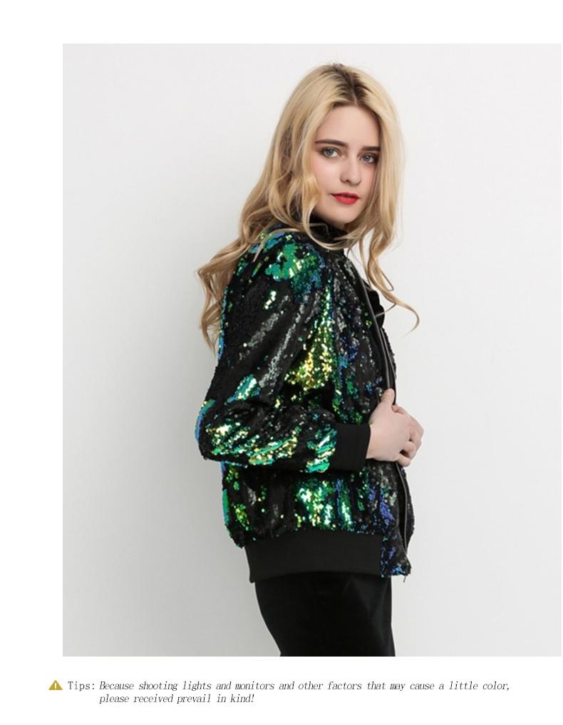 HYH HAOYIHUI Jesień Kobiety Cekiny Płaszcz Zielony Bomber Jacket Kurtka Z Długim Rękawem Zipper Streetwear Preppy Luźne Dorywczo Podstawowe Płaszcz 8