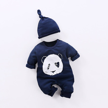 YiErYing Baby Jumpsuit Suits Spring Autumn 2pc Cute Cotton Long Sleeve Fashion Cartoon Print Hat+Romper Newborn Clothes Sets