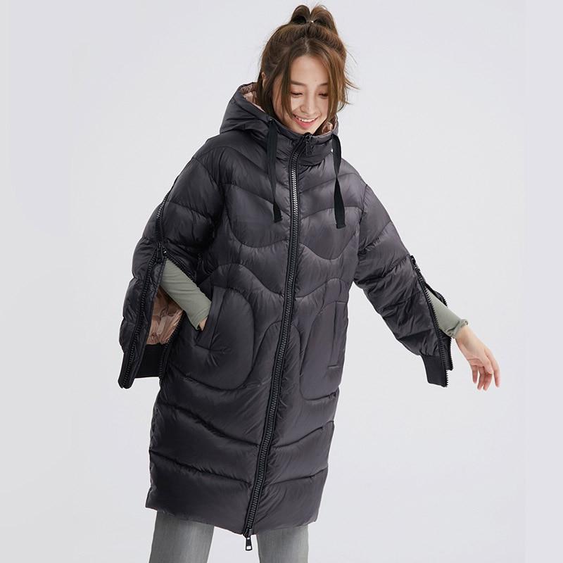 Lovers   down   jacket women hooded thickening   down     coat   fashion men medium long slim outerwear new 2019 autumn winter