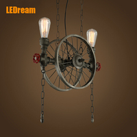 American Droplight Wrought Iron Industry Creative Restaurant Hotel Stage Chandeliers The Wheel Droplight