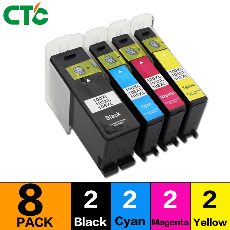 8 Pcs Compatible For Lexmark 100 105 108 XL LM100 Ink Cartridge For S305 S308 S405 S408 S505 S508 S605 S608 Printer With Chip