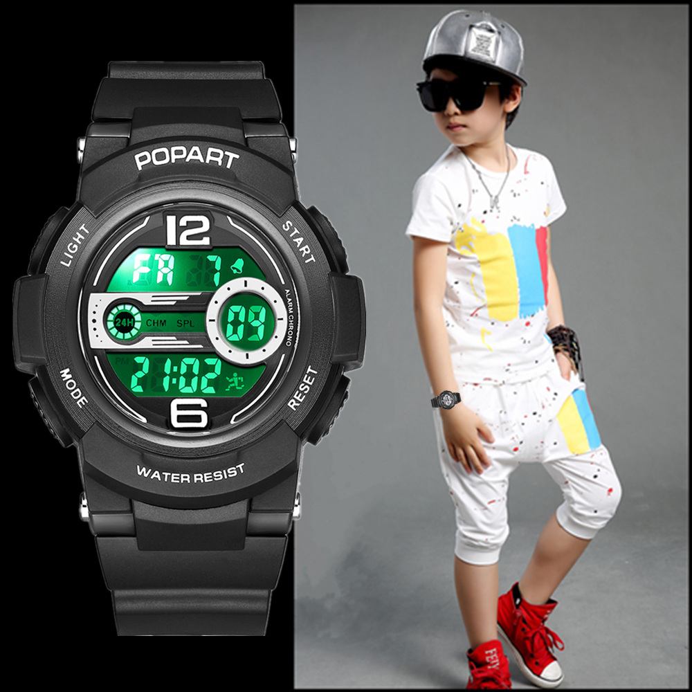 POPART Children's Watches Sport LED Display Digital Kids Watch Back Light 50m Waterproof Black Children Watches For Boys Girls children watches for girls digital smael lcd digital watches children 50m waterproof wristwatches 0704 led student watches girls page 2