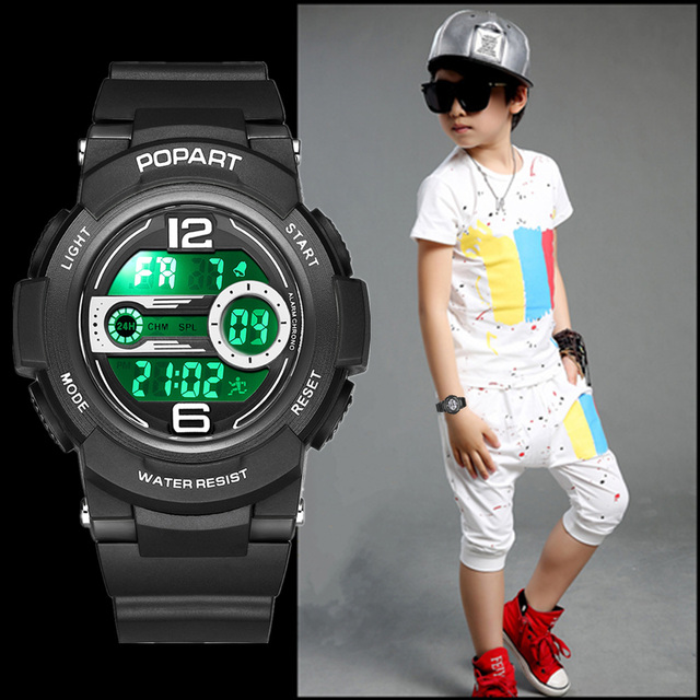 POPART Children's Watches Sport LED Display Digital Kids Watch Back Light 50m Wa