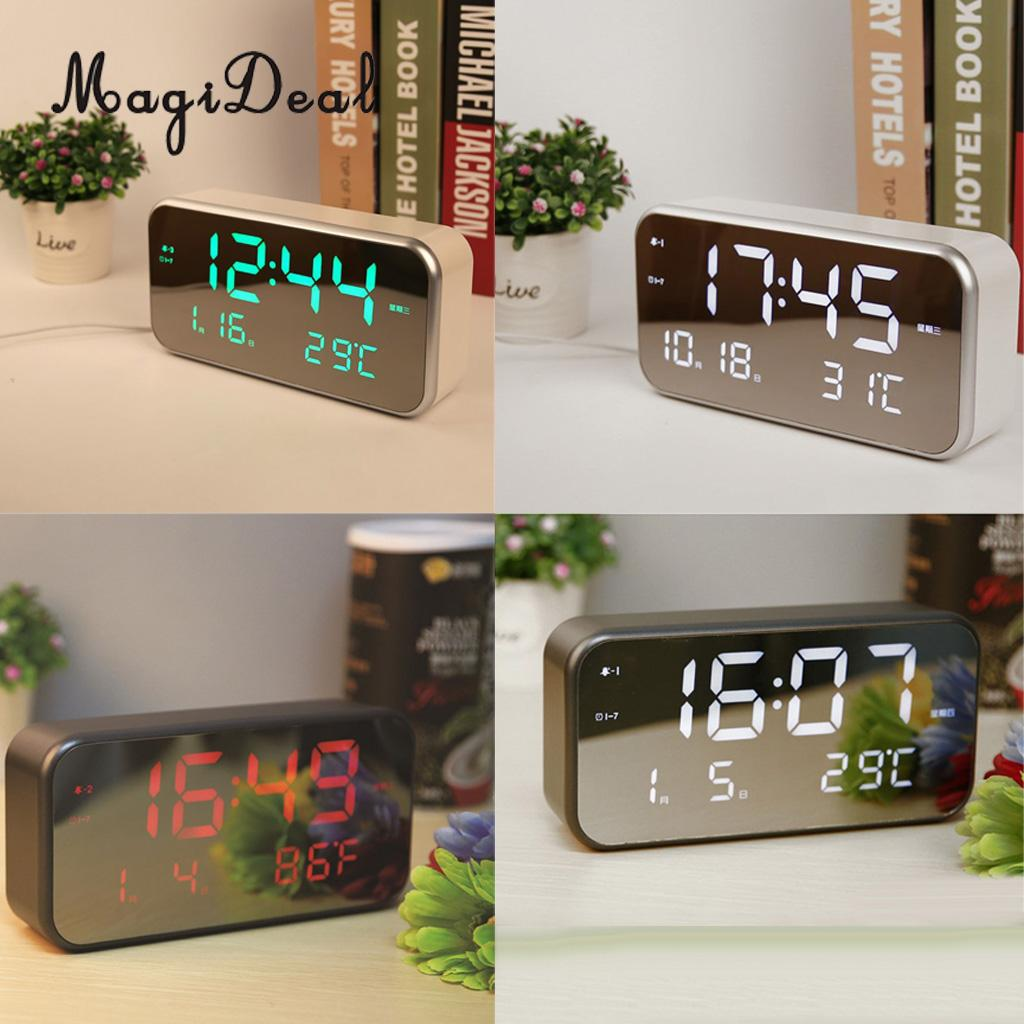 Digital LED Alarm Clock Portable Mirror Alarm Clock Time Date Calendar Thermometer Display with Snooze for Bedroom Office Travel