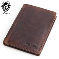 Luxury Vintage Designer 100 Genuine Crazy Horse Cowhide Leather Men Short Wallet Purse Card Holder Coin
