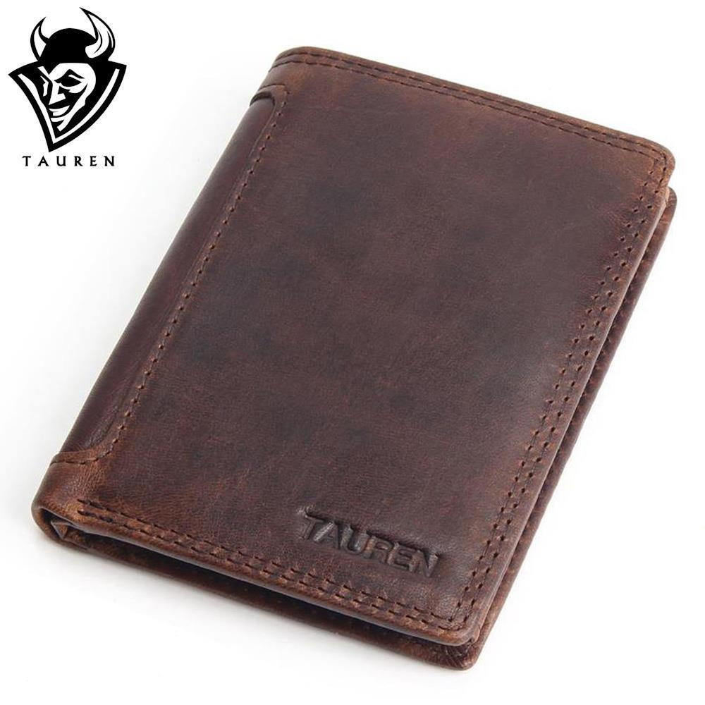 Vintage Designer 100 Genuine Carteiras Masculinas Cowhide Leather Men Short Wallet Purse Card Holder Coin Pocket