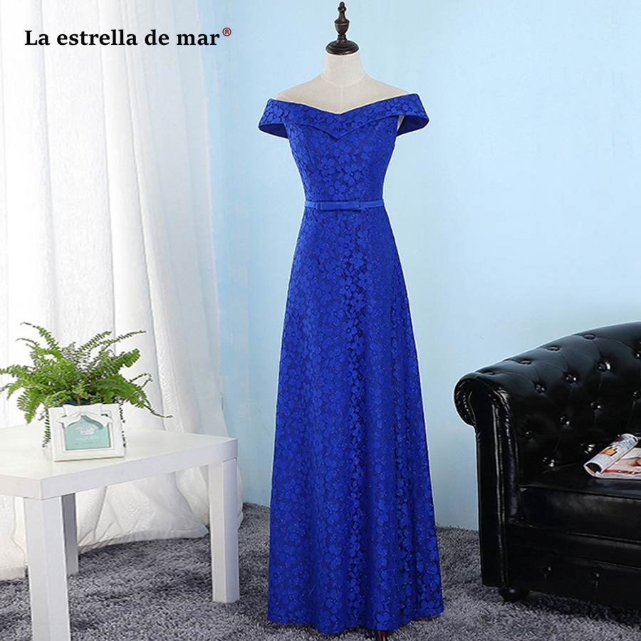 La estrella de mar vestido invitada 2019 new lace Boat Neckshort sleeve A Line Royal blue red   bridesmaid     dresses   long cheap