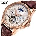 Relojes Hombre LIGE Marca Data Relógios fases Da Lua Relógio Automático Dos Homens relógios de Mergulho dos homens Moda Casual Relógios de Pulso relogio masculino
