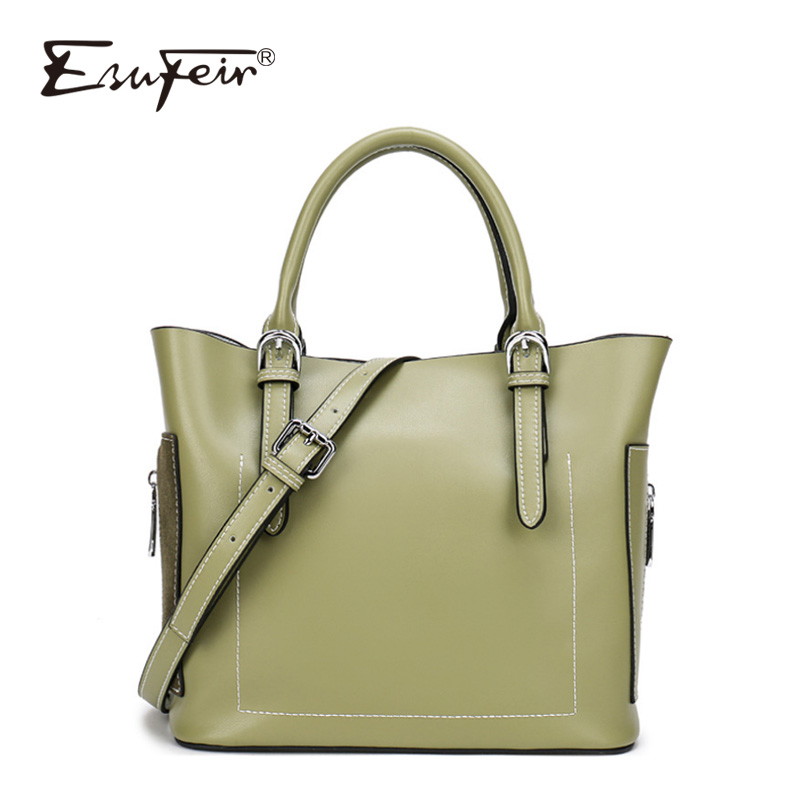 ESUFEIR Brand Genuine Leather Casual Tote Fashion Solid Zipper Women Shoulder Bag Crossbody Bag Designer Luxury Famous Bags smile face tote bag luxury brand genuine leather women handbag fashion shoulder bag famous designer crossbody bags sac