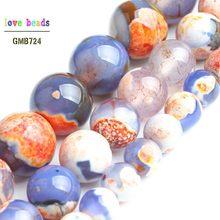 Perles rondes en pierre bleu Orange, Agates de feu, pour la fabrication de bijoux, 15