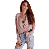 Women Pink Blouses Sexy V Neck Long Sleeve Solid Bow Tie Front Shirt High Quality Silk