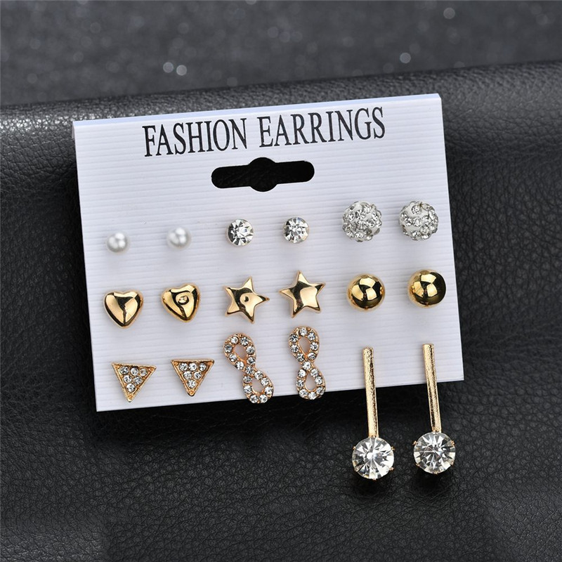 ZORCVENS Bohemia 29 Styles Long Tassel Stud Earrings Set For Women Girl Flower Heart Pearl Stud Earring Crystal Female Jewelry in Stud Earrings from Jewelry Accessories