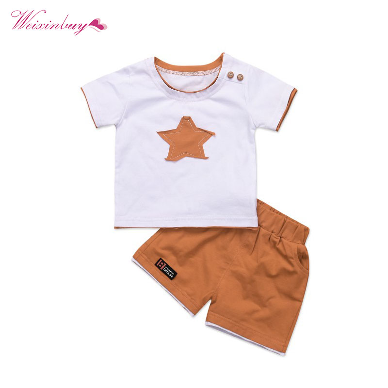 Fashion Boys Clothing set 2018 Summer 100% cotton with five-star print for 1-3 Years old 2pcs Children Sets 3 colors