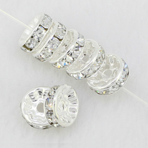 50PCS/Lot 8mm DIY Jewelry Accessory Silver Plated Copper Rhinestone Ring Spacer Beads Gasket fit Shamballa Bracelet Necklace