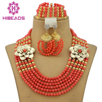 2017 Fashion African Wedding Coral Beads Jewelry Set Perfect Brides Gift Wedding Jewelry Set Pink New Free Shipping CNR187