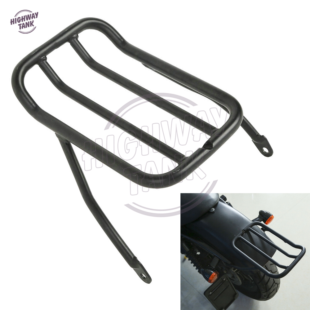 Black Motorcycle Rear Fender Luggage Shelf Rack Case for Harley Sportster Iron 883 XL883N 2009-2017 XL1200 chrome motorcycle detachables luggage solo rack case for harley sportster xl 883 1200 1994 2003