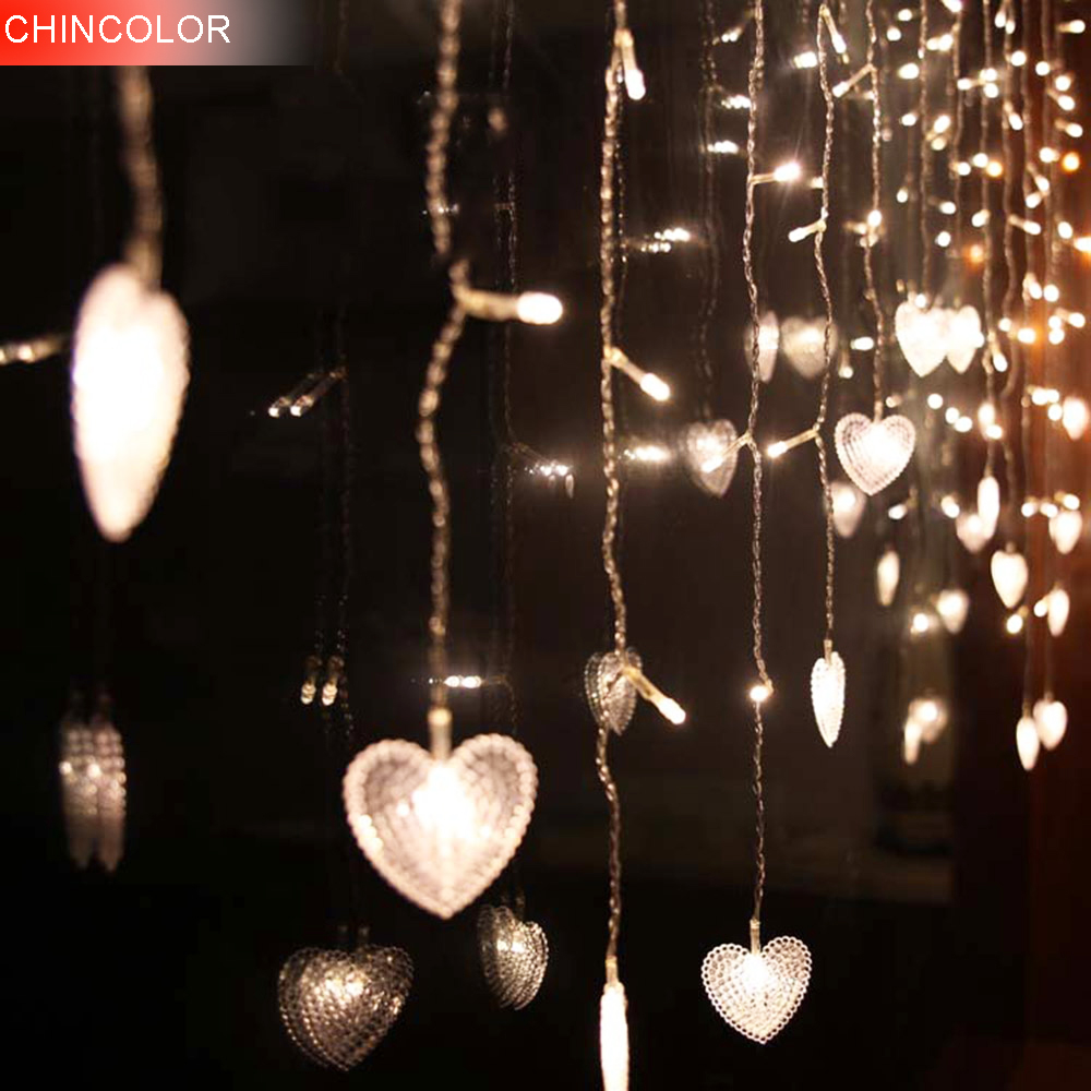 1.5-10Meter 48-320leds Holiday lights 5.5cm heart Curtain LED Light String New Year Christmas Fairy Party Wedding Decoration DA