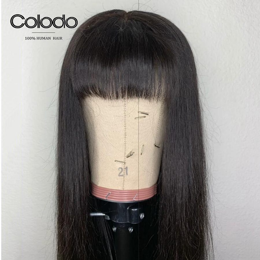 3ad7dbe4981 COLODO Natural Color Lace Front Wigs Brazilian Remy Straight Human Hair  Wigs With Bangs 150% Density Lace Wigs For Black Women