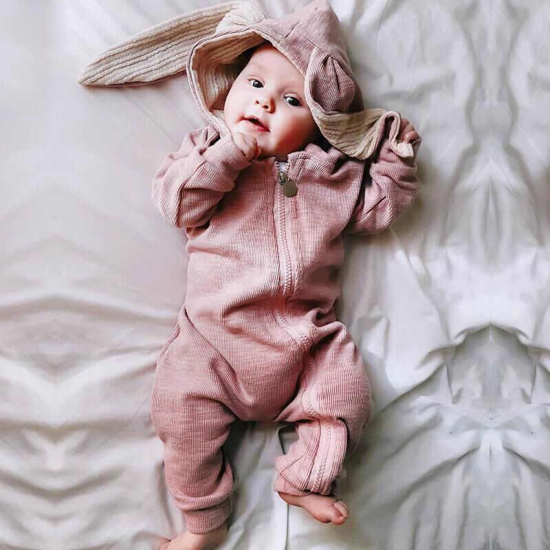 Весна Осень кроличьи уши унисекс с капюшоном для малышей комбинезон newbron Для мальчиков и девочек длинный рукав детский комбинезон детские наряд с героем мультфильма одежда хлопок