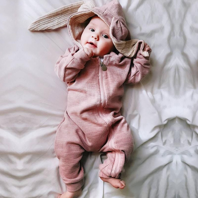 SPRING AUTUMN RABBIT EARS UNISEX BABY Hooded JUMPSUIT newbron boy girl Long Sleeve   rompers   Infant Cartoon outfit clothes Cotton