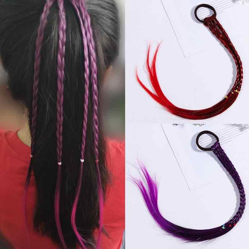 Diademas de bebé para niñas pelucas coloridas bandas de pelo de belleza Cola de Caballo adornos de goma diademas accesorios para el cabello para niños