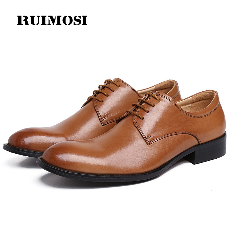 RUIMOSI Classic Formal Man Derby Bridal Dress Shoes Genuine Leather Wedding Oxfords Luxury Brand Round Toe Men's Footwear XE98
