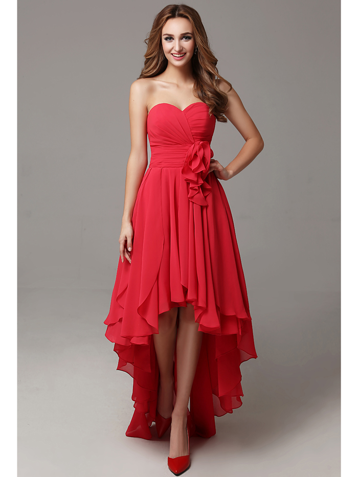 2016 flowy chiffon red high low sweetheart ruched beach