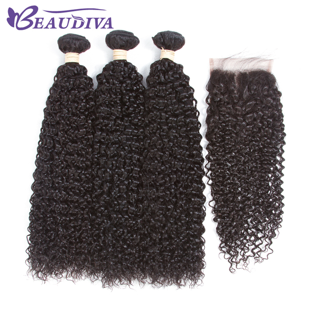 Beaudiva Pre Colored Afro Kinky Curly Human Hair Bundles With Lace