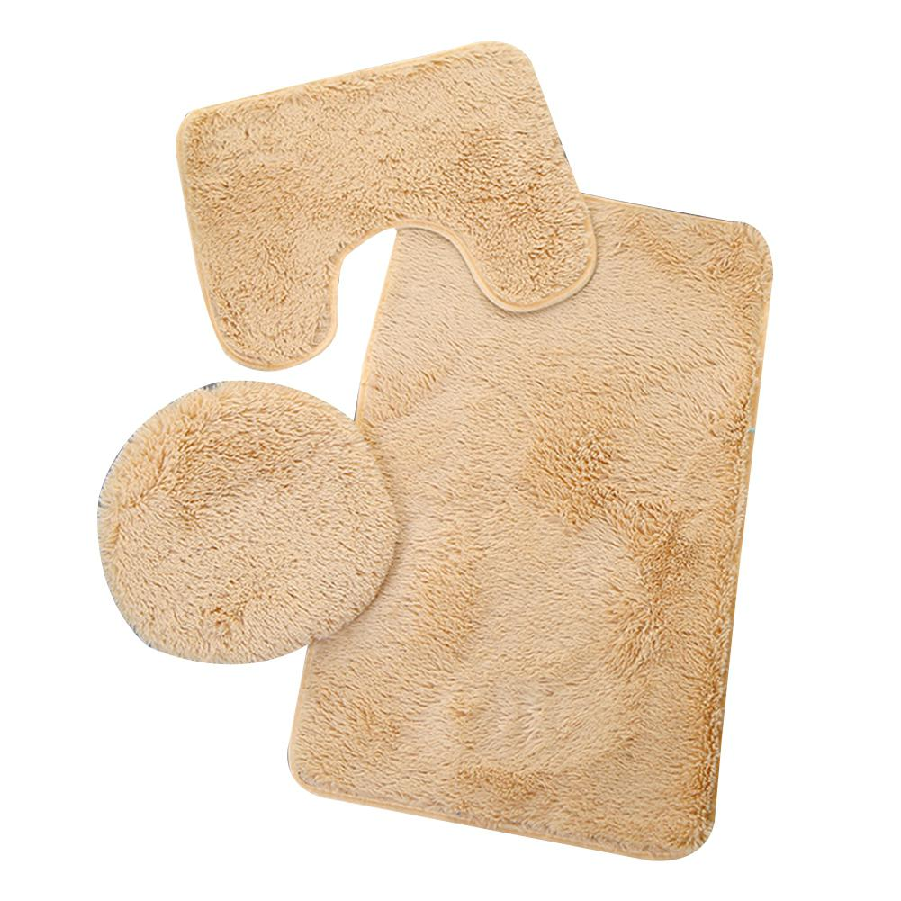 LanLan 3PCS Non-slip Bathroom Set O-shape Toilet Cover U-shape Mat Rectangle Carpet Household Decoration