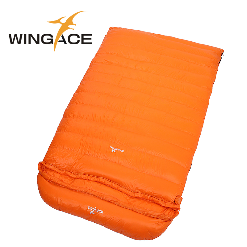 WINGACE Fill 800G 1200G 1600G 2000G Goose Down Double Sleeping Bag Envelope Spring Autumn Outdoor Travel Sleep Bag 225*130CM