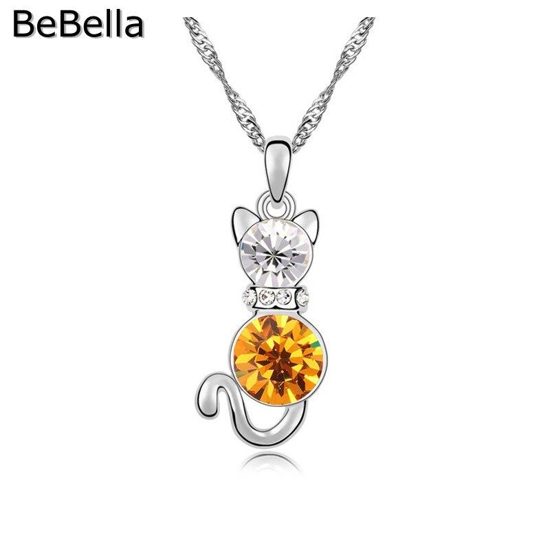 BeBella кристалл кошка кулон ожерелье сделано с чешским кристаллом для женщин подарок