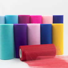 Tulle Roll Spool 25 Yards 15cm White Organza Roll Red Blue Tulle Organza Fabric Tutu Skirt Girl Baby Shower Decor Party Supplies(China)