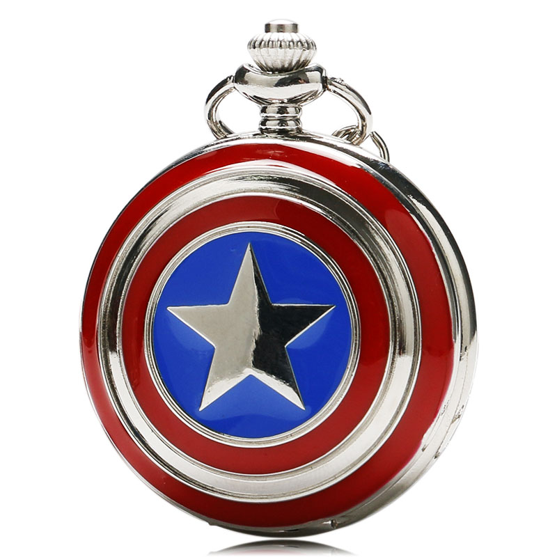 Marvel Superhero Series Pocket Watch American Captain Star Shield Cover Slim Necklace Cool Kids Clock Special Chidren Fans Gifts