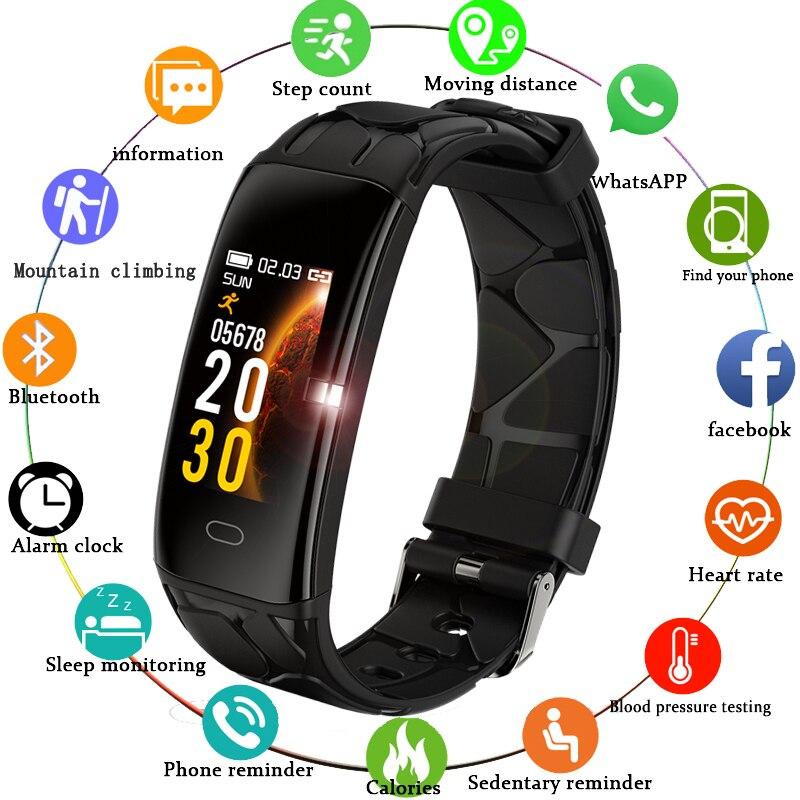 Saatler'ten Kadın Saatleri'de LIGE akıllı bilezik IP68 su geçirmez spor akıllı saat erkekler için Iphone ios nabız monitörü kan basıncı fonksiyonları akıllı bant title=
