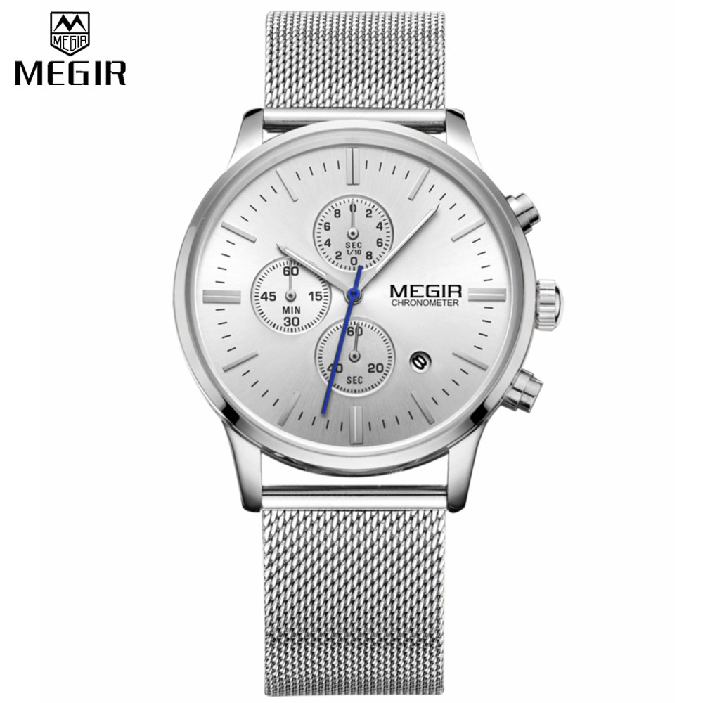Fashion simple stylish Top Luxury brand MEGIR Watches men Stainless Steel Mesh strap band Quartz-watch thin Dial Clock man 2011 fashion simple style top luxury brand longbo watches men stainless steel wristwatches quartz watch big gold dial clock man watch