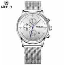 Mode simple élégant Top marque De Luxe MEGIR Montres hommes En Acier Inoxydable Maille bracelet band Quartz-montre mince Cadran Horloge homme 2011