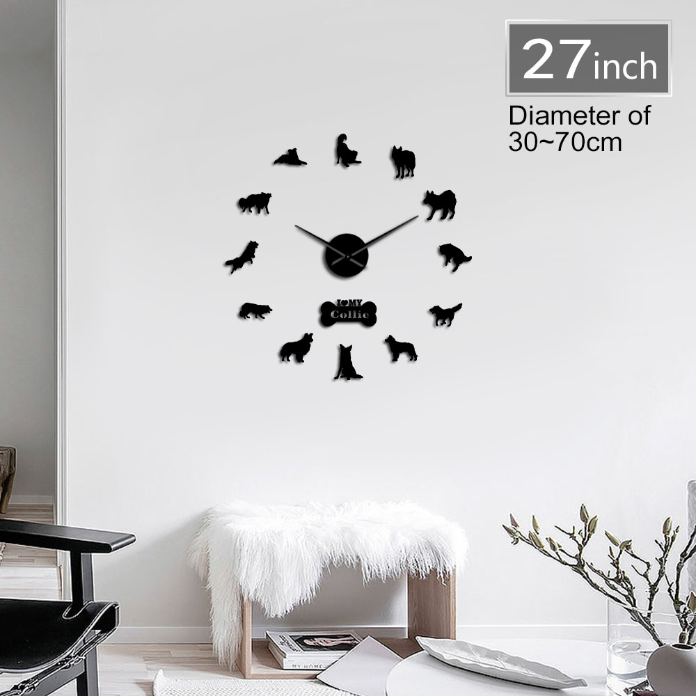 Border Collie Dog Breed Animal 3D DIY Wall Clock Border Colly Silhouette Acrylic Mirror Sticker Mute Clock Watch Pet Lover Gift