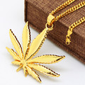 Gold Plated Hemp leaf pendants necklaces High Quality Fashion Hiphop long necklaces golden Chain for men bijouterie new 2017