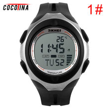 COCOTINA Thermometer Stopwatch Light Waterproof Date Alarm Digital LED Sport Wrist Watch L051132